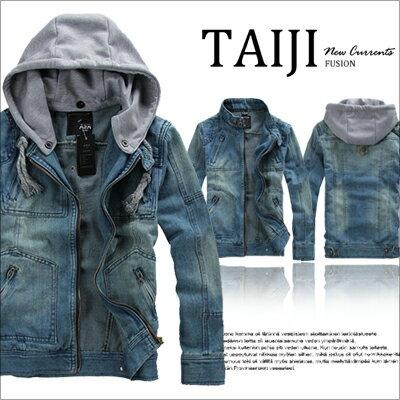 牛仔夾克外套【NTJBD13】街頭風格‧抽繩連帽可拆設計牛仔夾克外套‧一色‧復古外套/m65/素面/騎士★