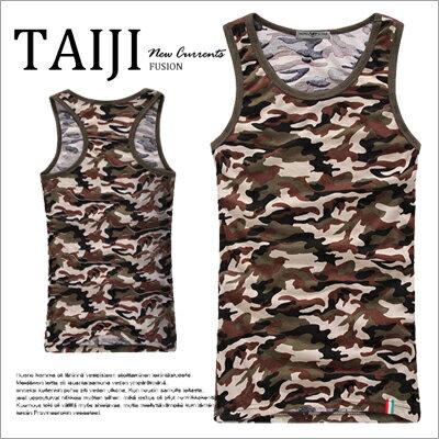 TAIJI~NTJBB11~街頭風格‧軍裝風滿版迷彩配色滾邊挖背 背心‧一色‧條紋  美式