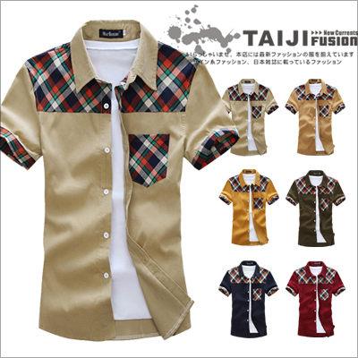 TAIJI【NTJBF187】日韓風格上肩格紋配色口袋滾邊拼接短袖襯衫六色法蘭絨/細/牛津