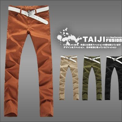 TAIJI~AP8989~日韓風格 單品素色素面修身窄版休閒長褲四色窄 古著 口袋