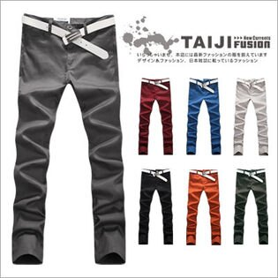 TAIJI:TAIJI【NP88038】日韓風格翻蓋鈕釦造型素面休閒工作長褲七色窄古著口袋★