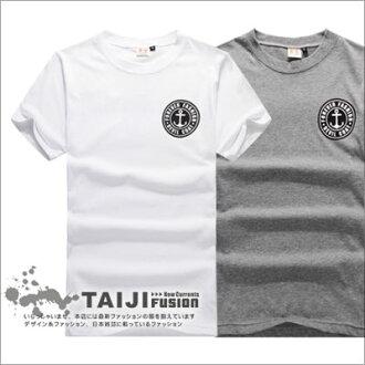 TAIJI【NF1409】街頭風格船鉚胸前LOGO圖案印花圓領棉質短T二色條紋/設計/美式/民族