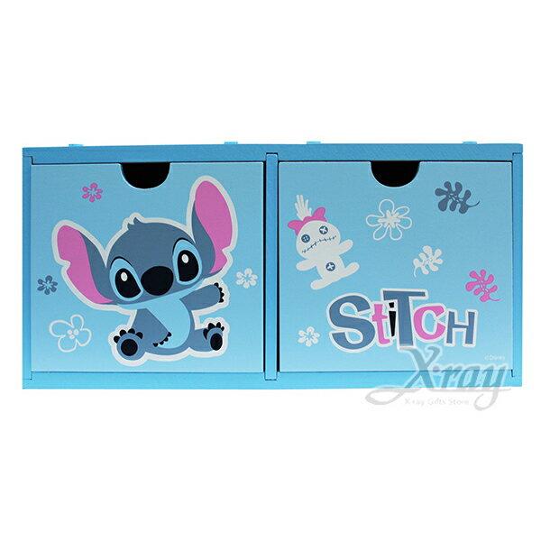 X射線【C380155】史迪奇stitch積木雙抽盒,置物櫃收納櫃收納盒抽屜收納盒木製櫃木製收納櫃收納箱桌上收納盒
