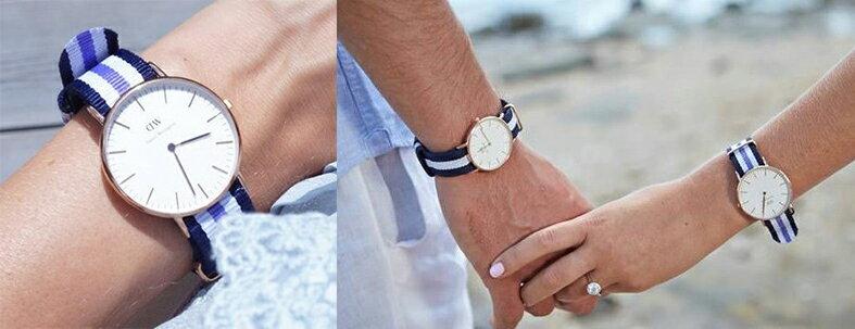 瑞典正品代購 Daniel Wellington 0509DW 玫瑰金 尼龍 帆布錶帶 手錶腕錶 36MM 3