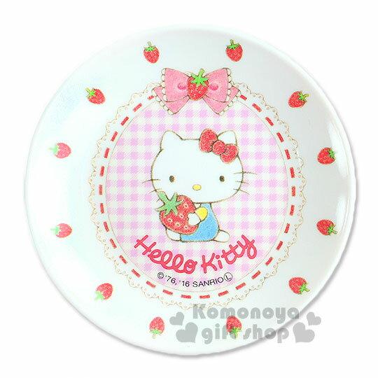 〔小禮堂〕Hello Kitty 美耐皿小菜碟《白.草莓.格紋.坐姿.圓型》