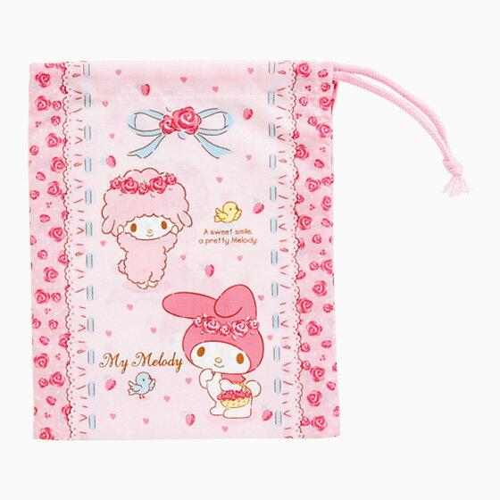 【真愛日本】4901610498156 日本製束口袋--MM+ABA 三麗鷗 Melody 美樂蒂 收納包 化妝包