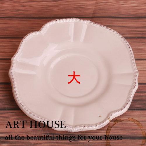 米灰色浮雕鄉村做舊陶瓷圓形小碟子 蛋糕碟 點心碟 零食碟 糕點碟2個組