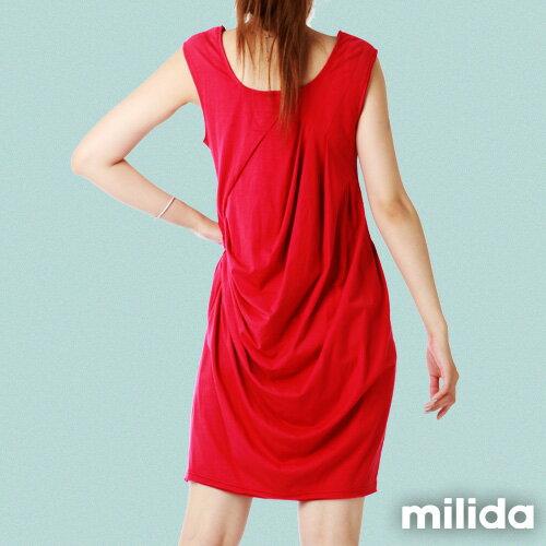 【Milida,全店七折免運】前後U領-立體抓皺剪裁洋裝 3