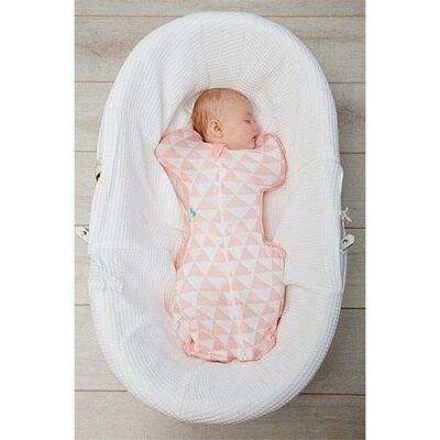 Love To Dream SWADDLE UP蝶型包巾 Stage1 (0歲~6個月)新生兒包覆款★竹纖維輕薄款★-粉色三角