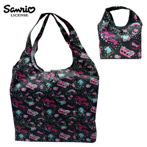 黑色款【日本正版】凱蒂貓摺疊購物袋環保袋手提袋防潑水HelloKitty三麗鷗Sanrio-466923
