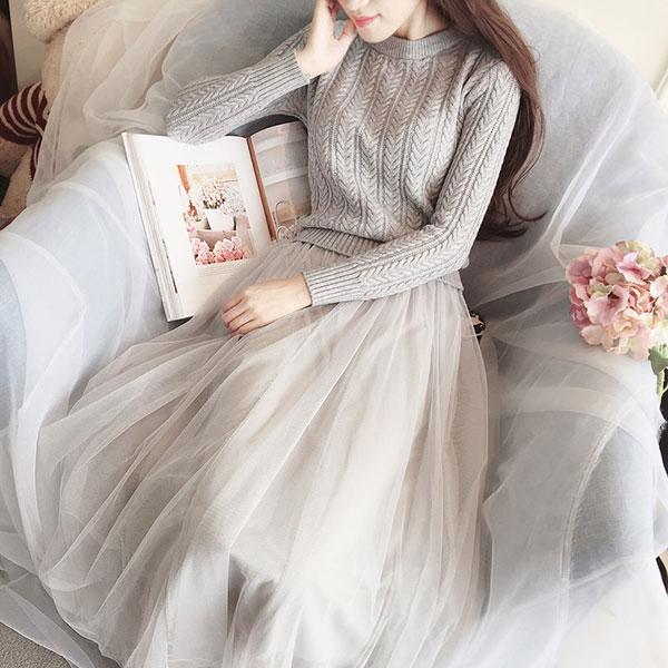 滿版 麻花毛衣拼接洋裝 紗裙 蓬裙 針織 毛衣 麻花 壓紋 連身裙 連衣裙 洋裝 長袖 氣質 婚宴 女神 顯瘦 韓 ANNA S.