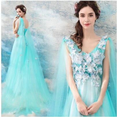 天使嫁衣:天使嫁衣【AE222】水藍色翩翩蝴蝶仙美飄紗舞台外拍長禮服˙預購訂製款