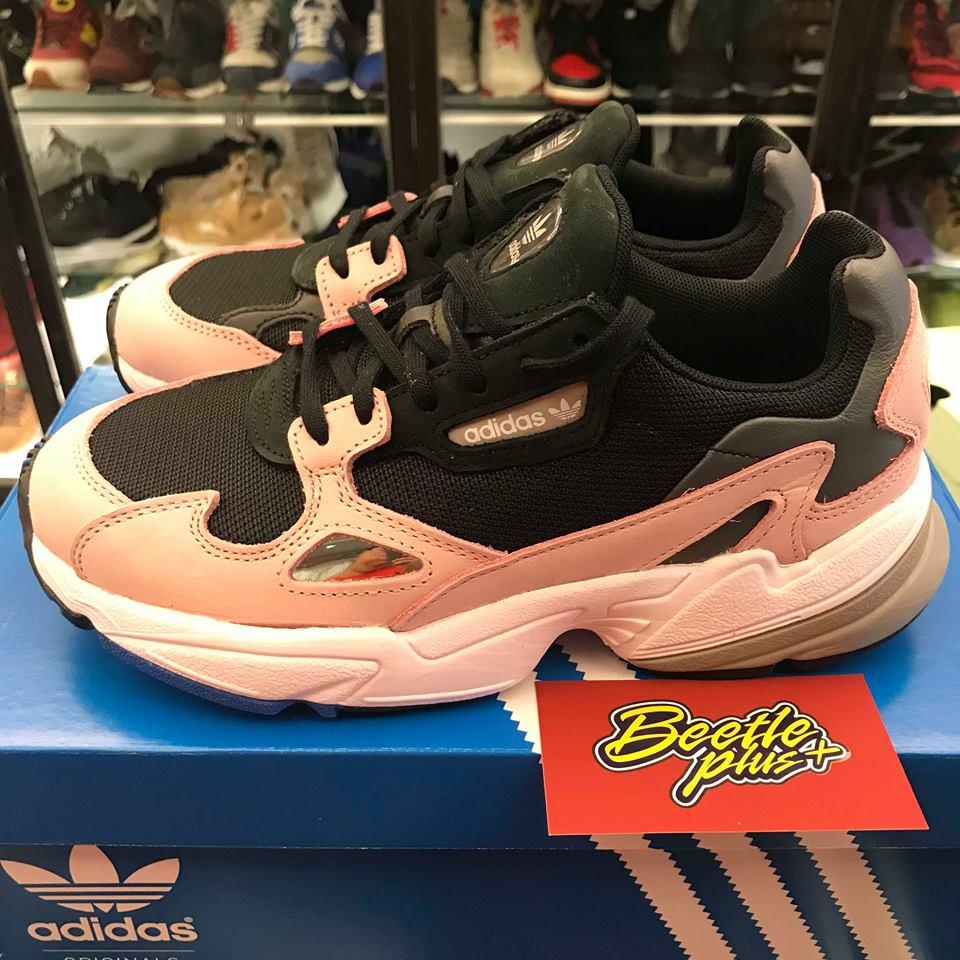 女鞋 BEETLE ADIDAS FALCON W 黑粉 老爹鞋 復古 厚底  B28126 23.5 24.5 1