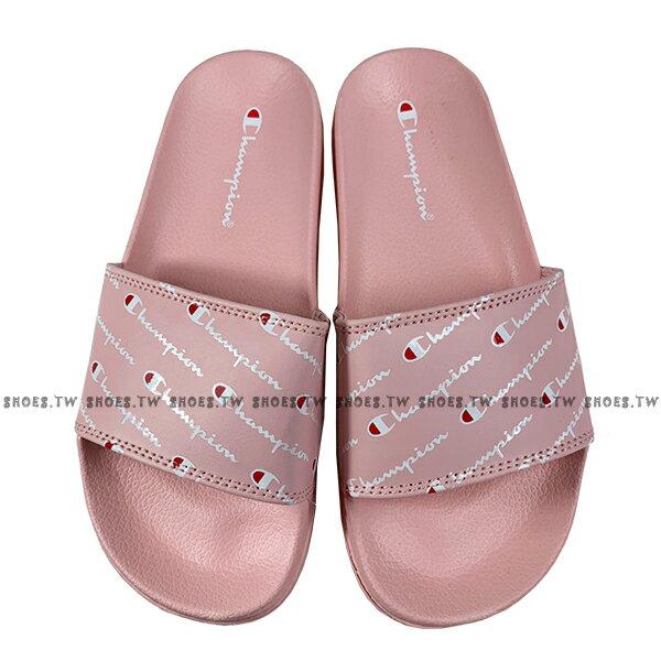 Shoestw【913250166】CHAMPION 拖鞋 運動拖鞋 滿版小LOGO 粉紅色 女生尺寸 1
