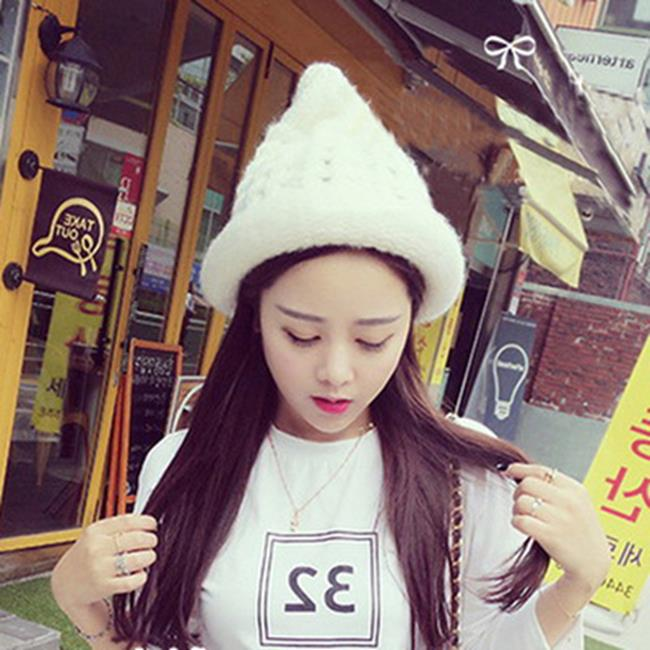50%OFF SHOP【E021276WH】韓國代購可愛霜淇淋光身尖頂毛線帽韓版卷邊針織帽潮女秋冬天