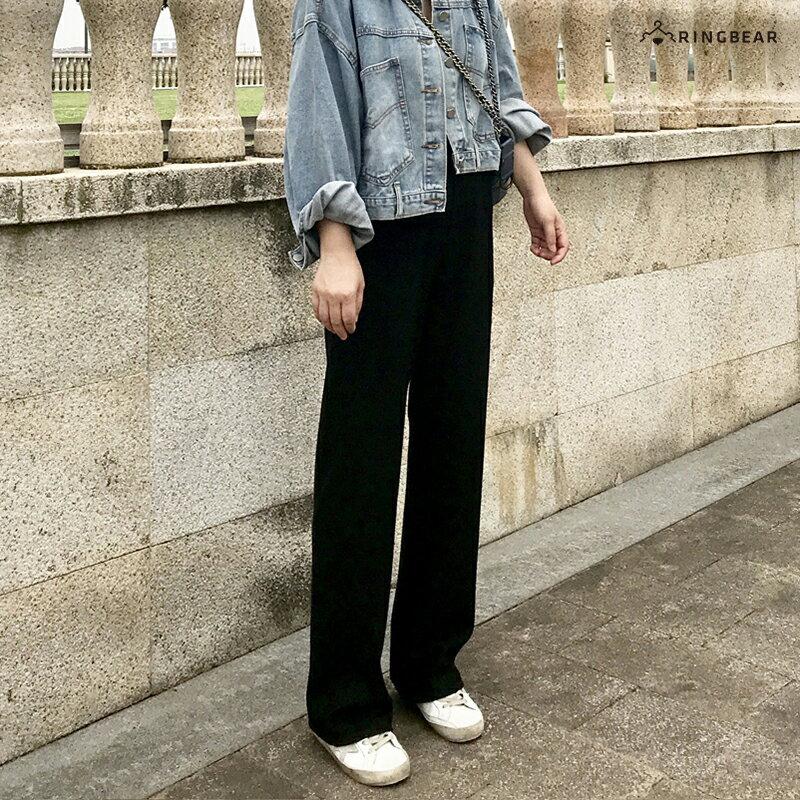 直筒褲--超顯瘦時尚優雅墬感寬鬆百搭鬆緊高腰直筒長褲(黑S-5L)-P146眼圈熊中大尺碼 4