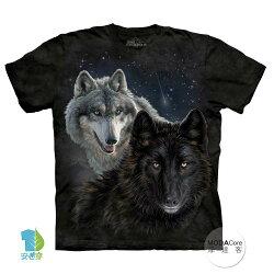 【摩達客】(預購) 美國進口The Mountain 星光雙狼 純棉環保短袖T恤