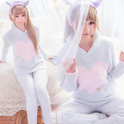 極保暖!!!高科技毛線-冬季長袖睡衣-日系愛心睡衣+睡褲組