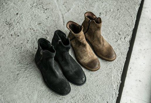 FINDSENSEMD日系高品質時尚潮男高絲光翻毛牛皮高幫低跟休閒鞋短靴