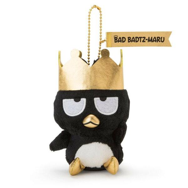 X射線【C054123】酷企鵝BadBadtz-maru造型玩偶吊鍊-皇冠,絨毛填充玩偶玩具公仔鑰匙圈吊飾玩偶包包吊飾