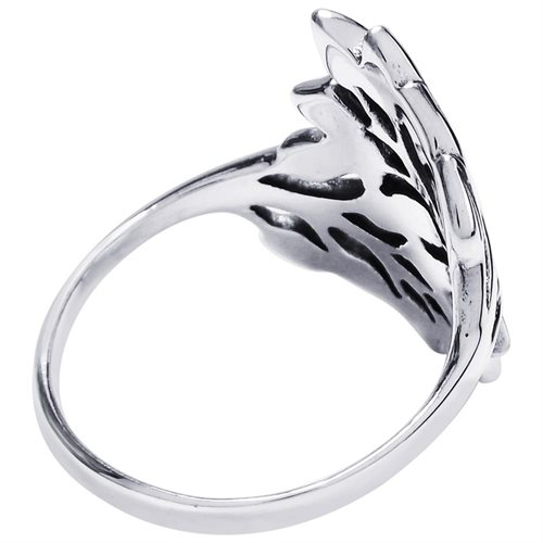 Nature Exotic Double Leaves Wrap Sterling Silver Ring 2