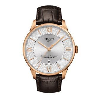 TISSOT天梭T0994073603800 杜魯爾羅馬玫瑰金經典80機械腕錶/白面42mm