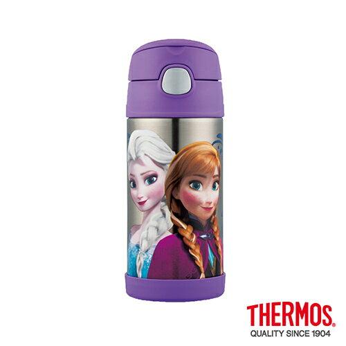 【Thermos 膳魔師】不銹鋼真空吸管瓶360ml(附水壺袋)-冰雪奇緣