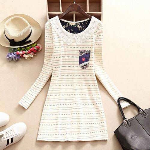 花邊領加絨加厚連身裙 (2色,S~XL) 【OREAD】 0