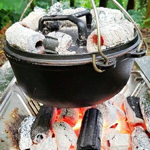美麗大街【S107091528】CAMPINGMOON鑄鐵鍋 加厚無塗層荷蘭鍋套鍋組 (男人的鍋)