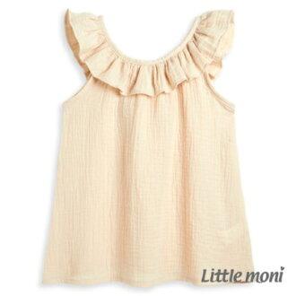 Little moni清甜荷葉女孩無袖襯衫-淺米色
