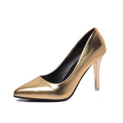 2016 風 外貿女鞋細跟超高跟淺口尖頭性感顯瘦金屬感高跟鞋