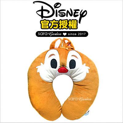 SaraGarden:正版迪士尼Disney奇奇蒂蒂飛機枕枕頭靠枕午睡枕護頸枕U型枕柔軟絨毛