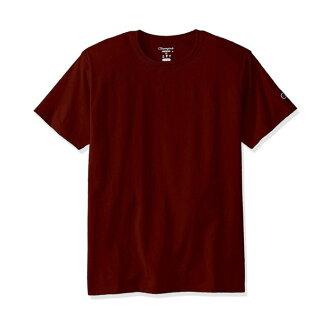 美國百分百【Champion】冠軍 T恤 短袖 T-shirt logo 素T 高磅數 酒紅色 S-XL號 I203
