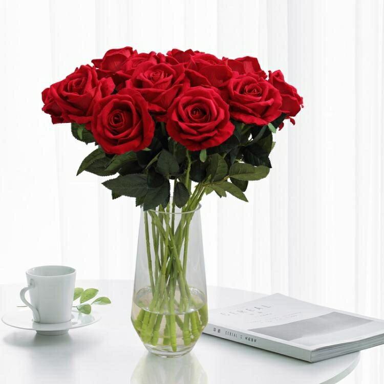 假花 仿真玫瑰花單支 假玫瑰花 客廳裝飾花絨布紅玫瑰仿真花束絹花假花 4