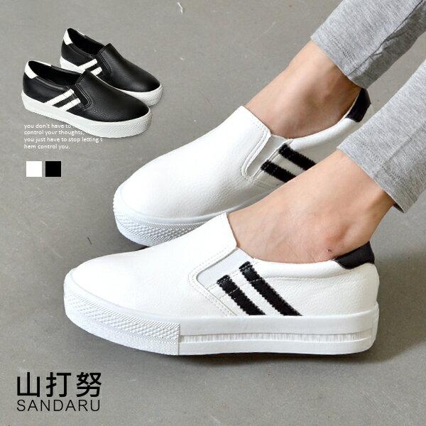 軟底雙條皮革厚底懶人鞋