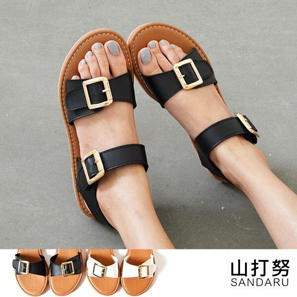平底涼鞋 兩版金扣寬帶涼鞋~ 山打努SANDARU~036008^#46~