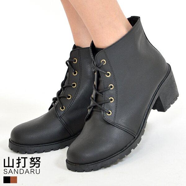 踝靴 素面綁帶拉鍊踝靴~ 山打努SANDARU~1019357^#46~