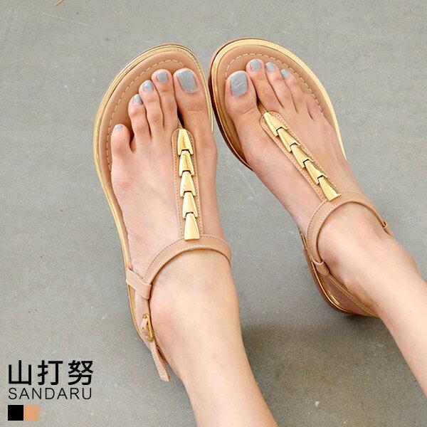 夾腳涼鞋 金屬釦飾平底涼鞋~ 山打努SANDARU~107H06^#46~