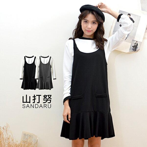 套裝兩件式 羅紋長袖上衣 荷葉邊吊帶裙^~~ 山打努SANDARU~0122842032^