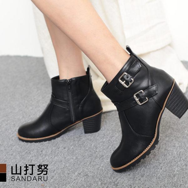 低跟短靴 側扣環皮革短靴-山打努SANDARU【107A8902、1068902#54】