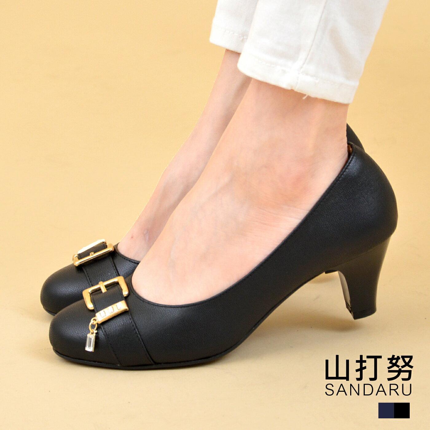 專櫃女鞋 皮帶環吊飾低跟鞋- 山打努SANDARU【1228705】黑色下單區