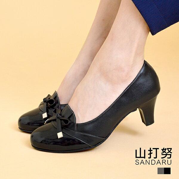 專櫃女鞋 接漆皮蝶結粗中跟鞋- 山打努SANDARU【122872】黑色下單區