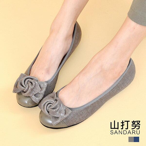 專櫃女鞋 簡約扭結壓紋楔型鞋- 山打努SANDARU【125311】灰色下單區