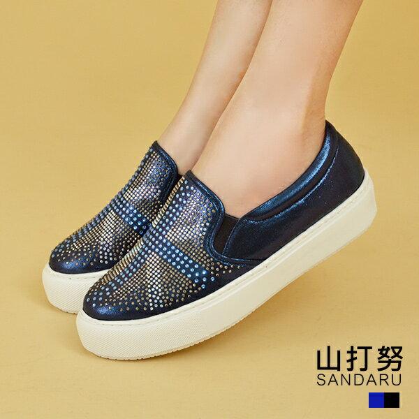 專櫃女鞋 水鑽十字交叉休閒鞋- 山打努SANDARU【13813813】藍色下單區
