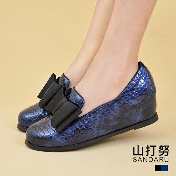 專櫃女鞋 蝶結鱷魚紋內增高鞋- 山打努SANDARU【1586162】藍色下單區