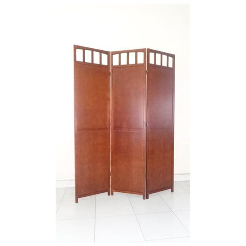3 Panel Solid Wood Room Screen Divider with Antique Walnut Finish
