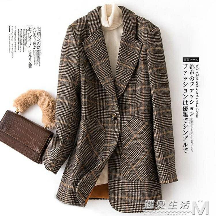 格子小西裝外套女中長款春秋新款韓版修身夾棉短款毛呢小西服