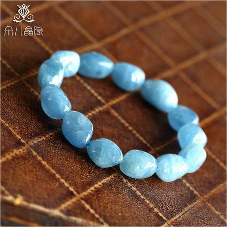 水晶手鏈 海藍寶手鏈 水潤天藍色 遂意形
