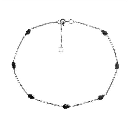 Classy Teardrop Black CZ Link .925 Silver Anklet 0