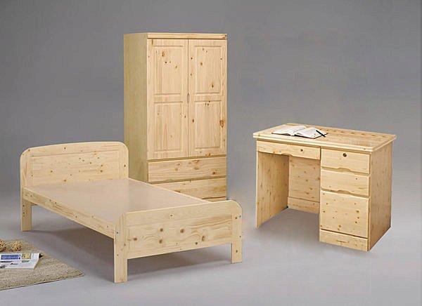【尚品家具】☆特別優惠售完為止☆ GF-質感松木3.5尺床組+3x6尺衣櫃+3.5尺床墊+實木椅~